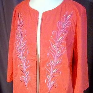 Bob Mackie Smart Denim Size 1X embroidered jacket